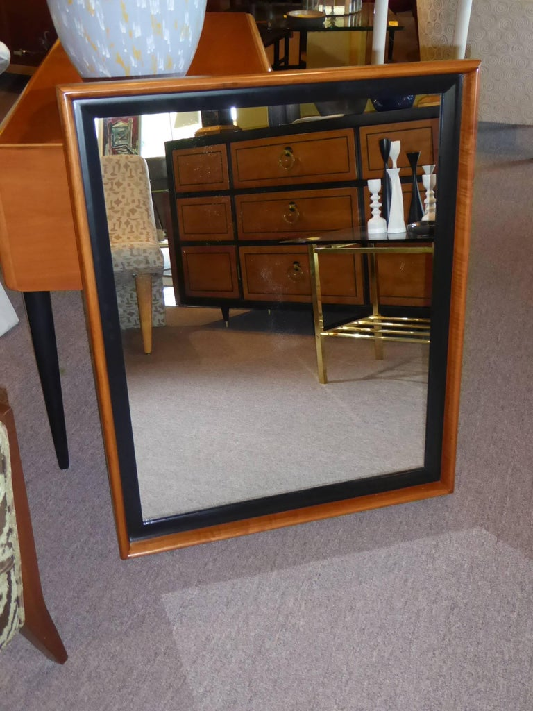 Mid-Century Modern Paul Frankl Modern Mirror for Johnson Furniture, Blond Cherry and Black Lacquer. For Sale