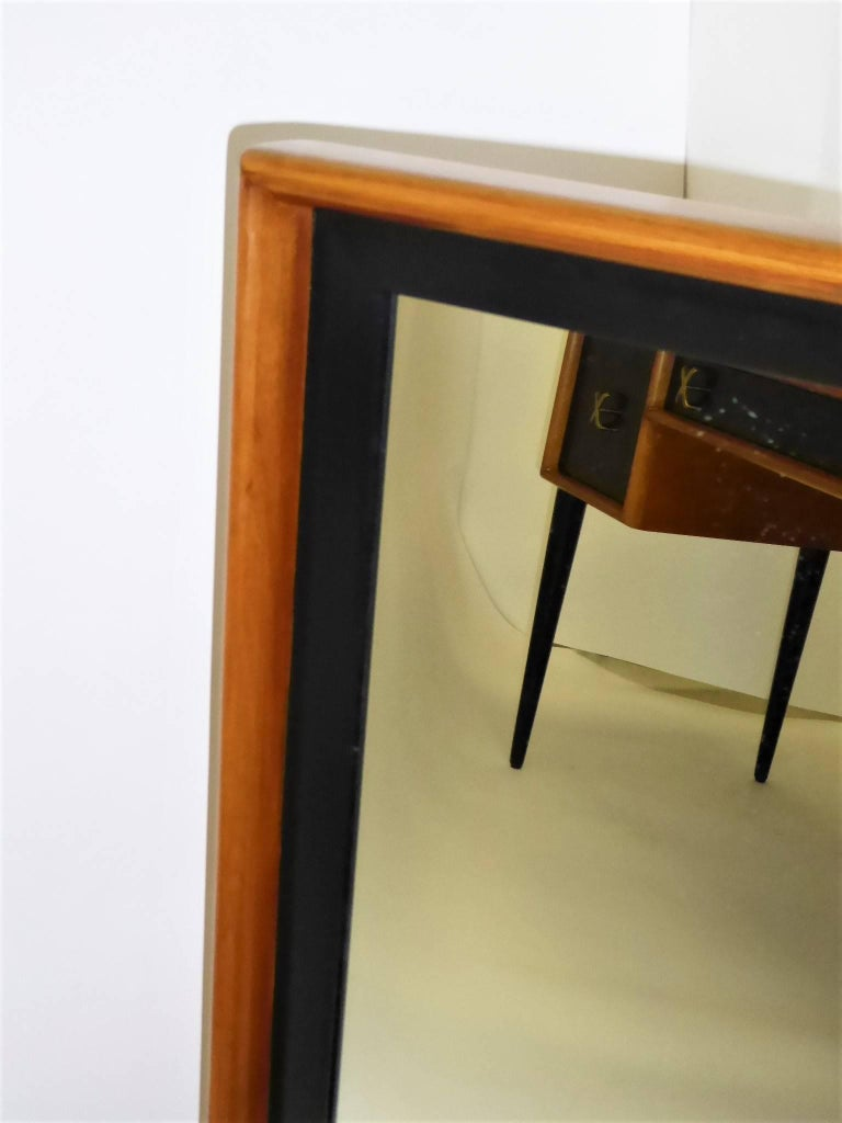 American Paul Frankl Modern Mirror for Johnson Furniture, Blond Cherry and Black Lacquer. For Sale