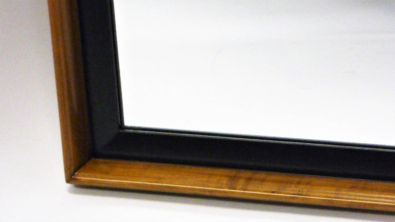 Mid-20th Century Paul Frankl Modern Mirror for Johnson Furniture, Blond Cherry and Black Lacquer. For Sale