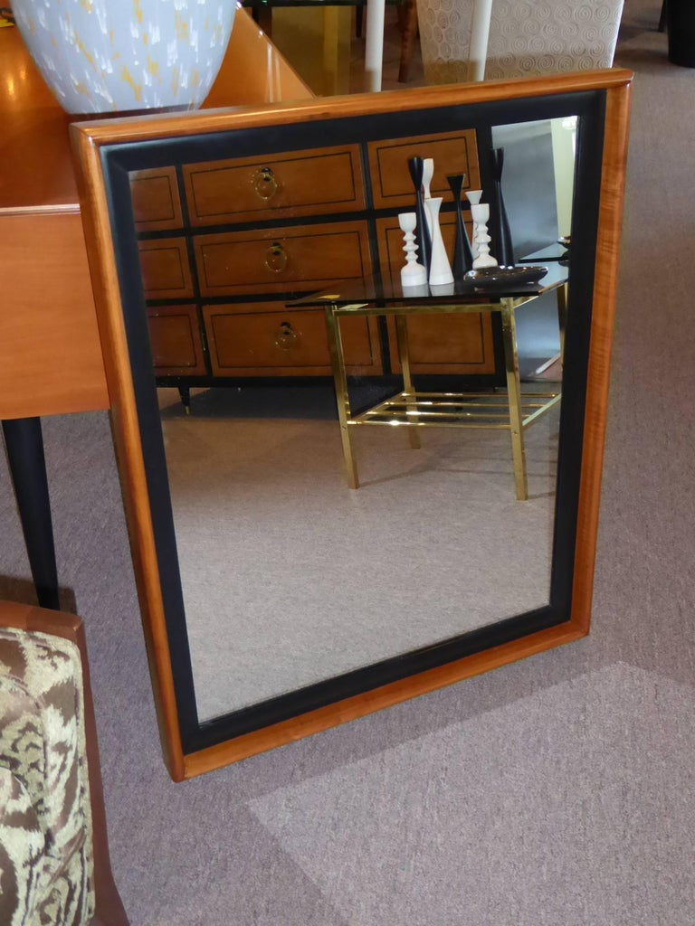 Paul Frankl Modern Mirror for Johnson Furniture, Blond Cherry and Black Lacquer. For Sale 1
