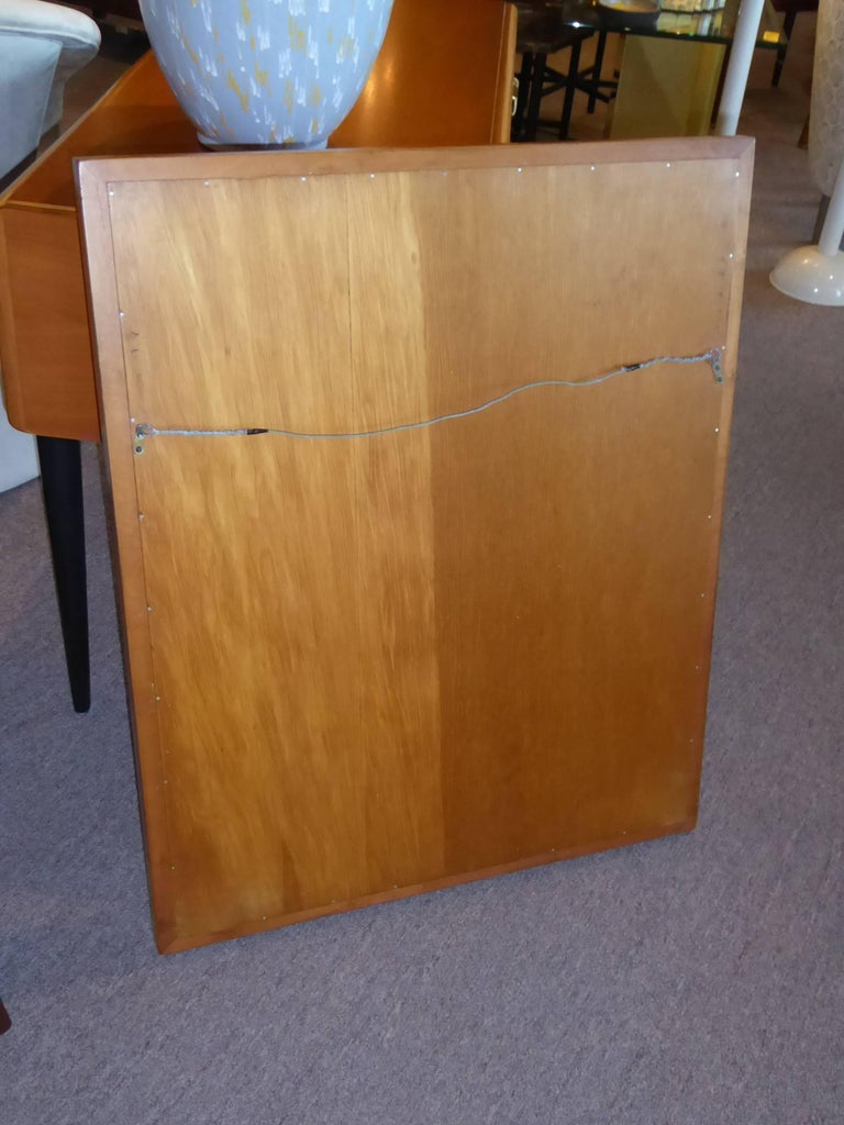 Paul Frankl Modern Mirror for Johnson Furniture, Blond Cherry and Black Lacquer. For Sale 2