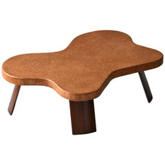 Paul Frankl, Organic Coffee Table, Cork, Mahogany, Johnson Furniture, 1950s