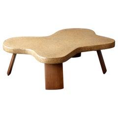 Paul Frankl, Organic Coffee Table, Cork, Mahogany, Johnson Furniture, 1950s