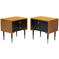 Paul Frankl Pair of Nightstands in Cork and Wood