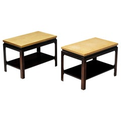 Paul Frankl Pair of Side Tables Model 5015 in Mahogany and Cork