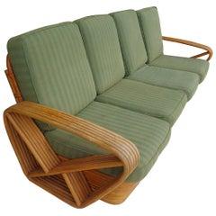 Paul Frankl Pretzel Six Strand 4-Seat Rattan Bamboo Sofa