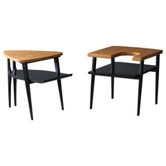 Paul Frankl, Rare Two-Tier Side Tables Cork, Black Lacquered Wood, America 1950s
