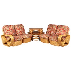 Paul Frankl Rattan Living Room Sectional Seating Set