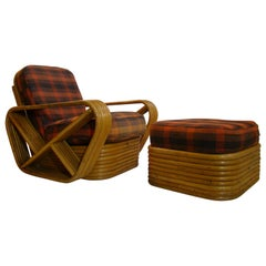 Paul Frankl Rattan Lounge Chair and Ottoman 'Vintage 1950s'