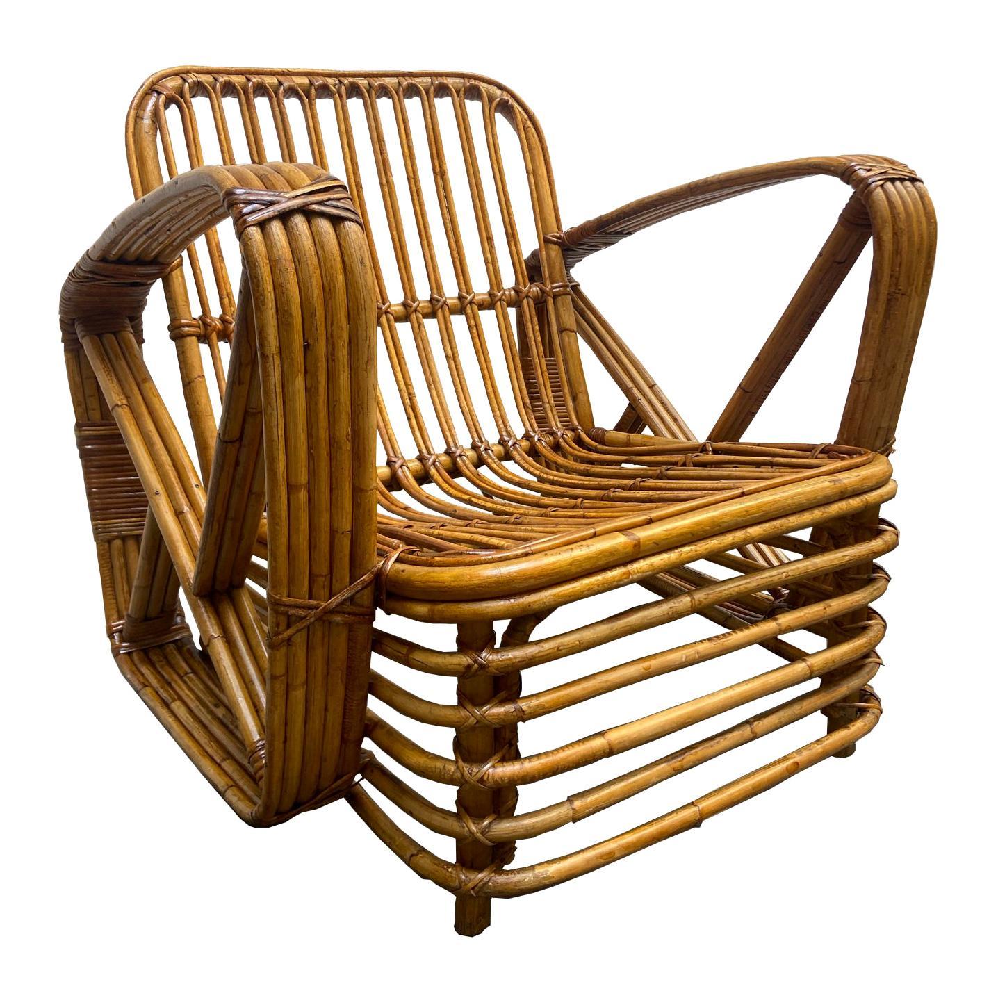 Paul Frankl Rattan Pretzel Lounge Chair, 1940s