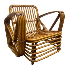Paul Frankl Rattan Pretzel Lounge Chair, 1940s