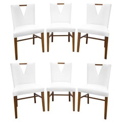 Paul Frankl Set of 6 Plunging Neckline Dining Chairs, 1950s