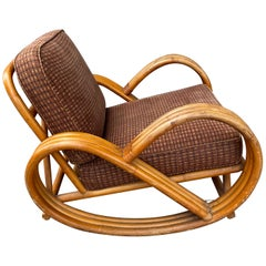 "Paul Frankl Style Bamboo ""pretzel"" Rocking Lounge Chair, c.1940's"