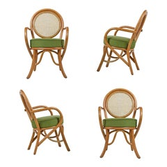 Paul Frankl Style Cane Back Rattan Armchairs Set