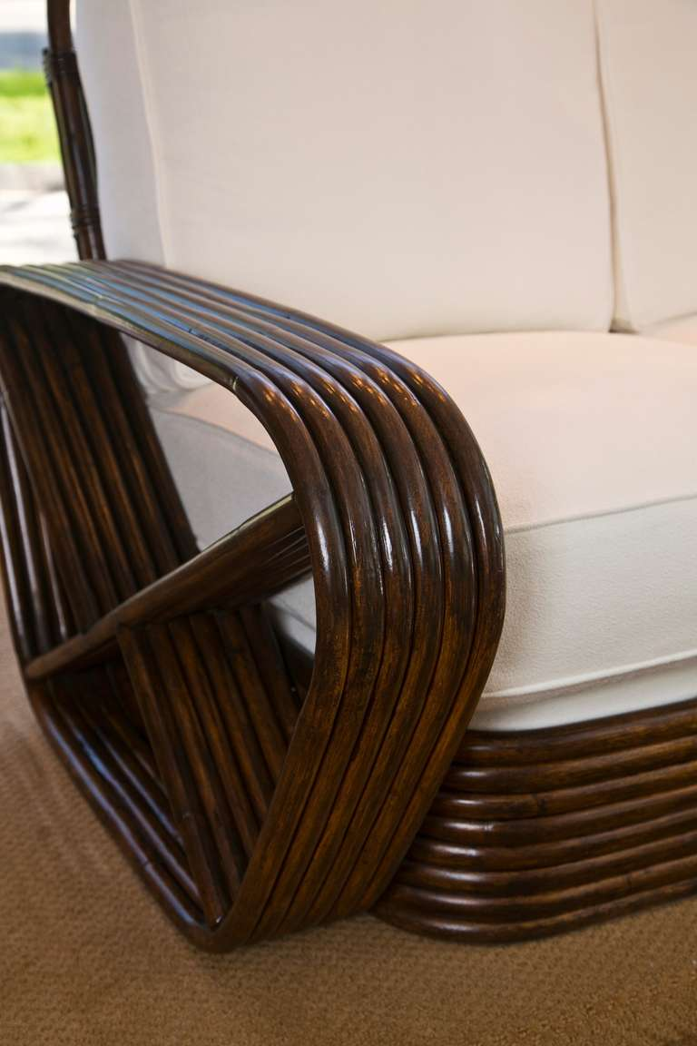 Paul Frankl Style Loveseat in Dark Chocolate by Tochiku In Excellent Condition For Sale In Wilton, CT