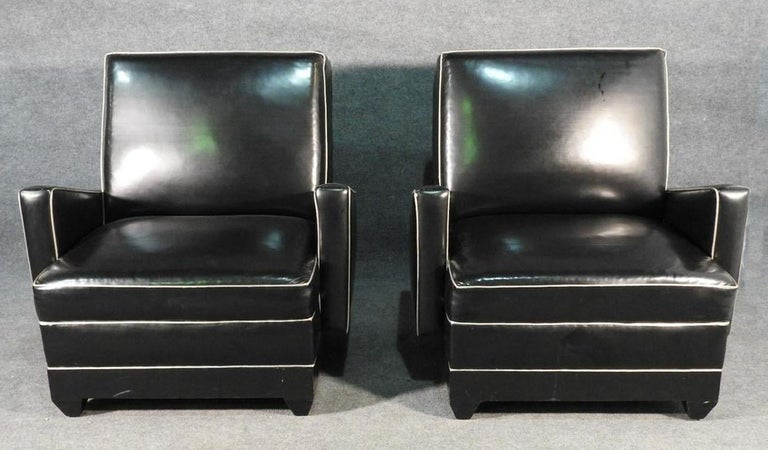 American Paul Frankl Style Oversized Black and Gray Art Deco Style Club Chairs For Sale