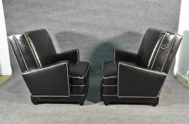 Paul Frankl Style Oversized Black and Gray Art Deco Style Club Chairs In Good Condition For Sale In Swedesboro, NJ