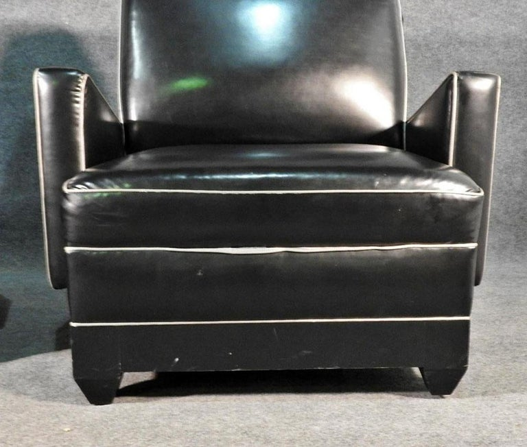 Paul Frankl Style Oversized Black and Gray Art Deco Style Club Chairs For Sale 1