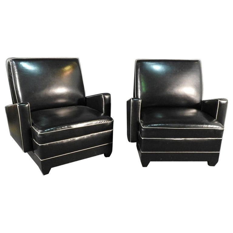 Paul Frankl Style Oversized Black and Gray Art Deco Style Club Chairs For Sale