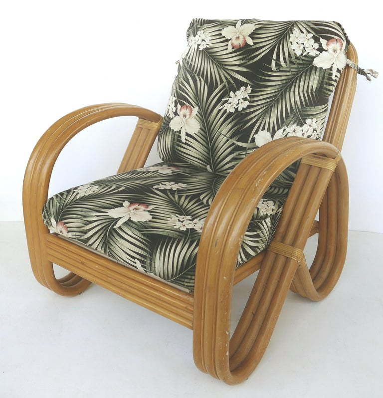 Mid-Century Modern Paul Frankl Style Rattan Pretzel Club Chair and Ottoman with Three Bands