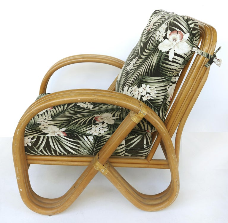North American Paul Frankl Style Rattan Pretzel Club Chair and Ottoman with Three Bands