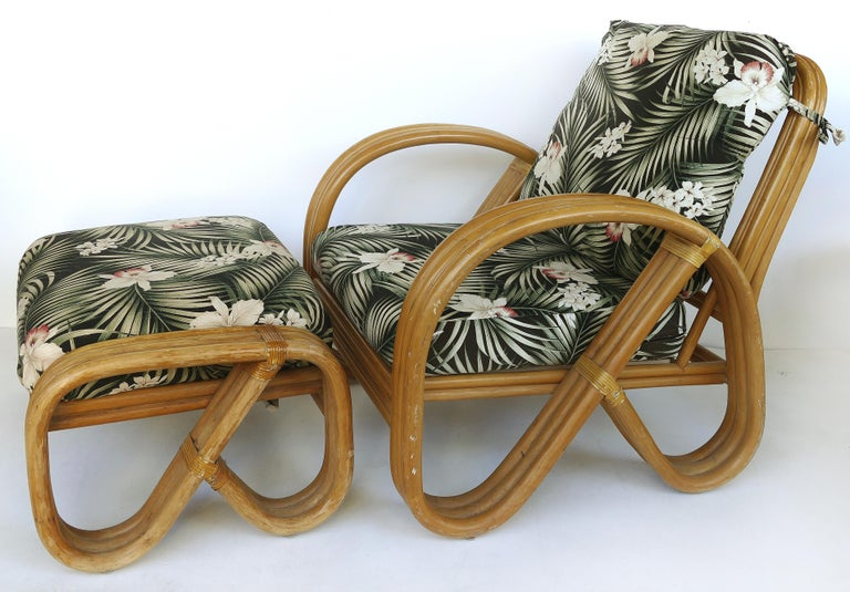 Paul Frankl Style Rattan Pretzel Club Chair and Ottoman with Three Bands 1