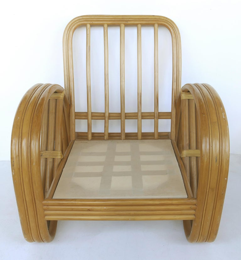 Paul Frankl Style Rattan Pretzel Club Chair and Ottoman with Three Bands 2