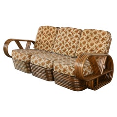 Paul Frankl Style Rattan Sectional Sofa, 1940s