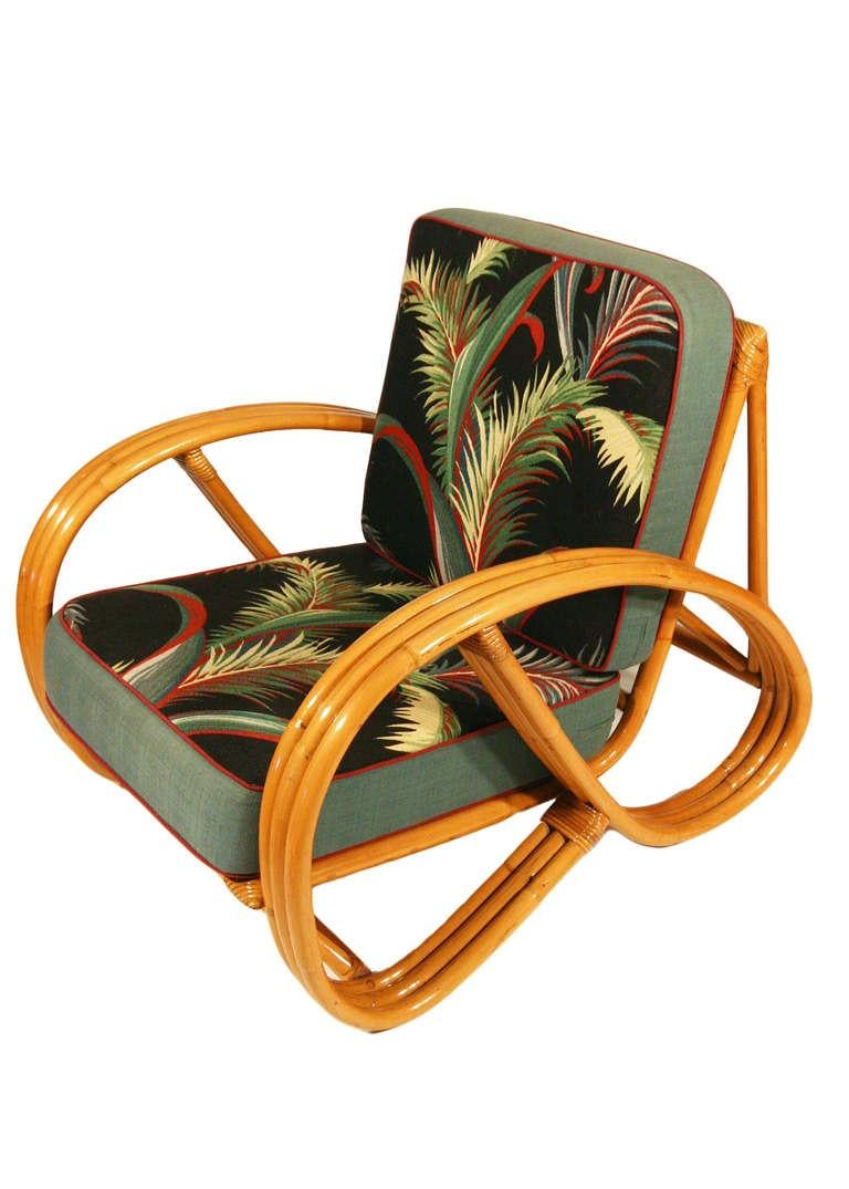Paul Frankl styled post-war three strand, 3/4 pretzel arm rattan set of two side chairs features a rare decorative wave detail around the perimeter of the base. Custom cushions are available C.O.M.  Also available are a matching sofa, end tables,