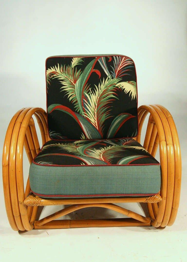 American Paul Frankl Style Round Pretzel Arm Rattan Chair Set