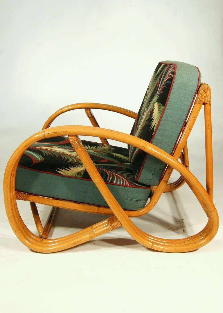 Paul Frankl Style Round Pretzel Arm Rattan Chair Set In Excellent Condition In Van Nuys, CA