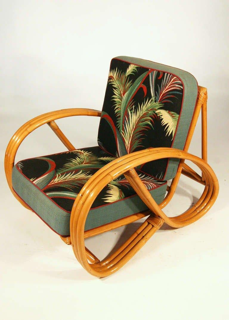 Mid-20th Century Paul Frankl Style Round Pretzel Arm Rattan Chair Set