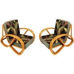 Paul Frankl Style Round Pretzel Arm Rattan Chair Set