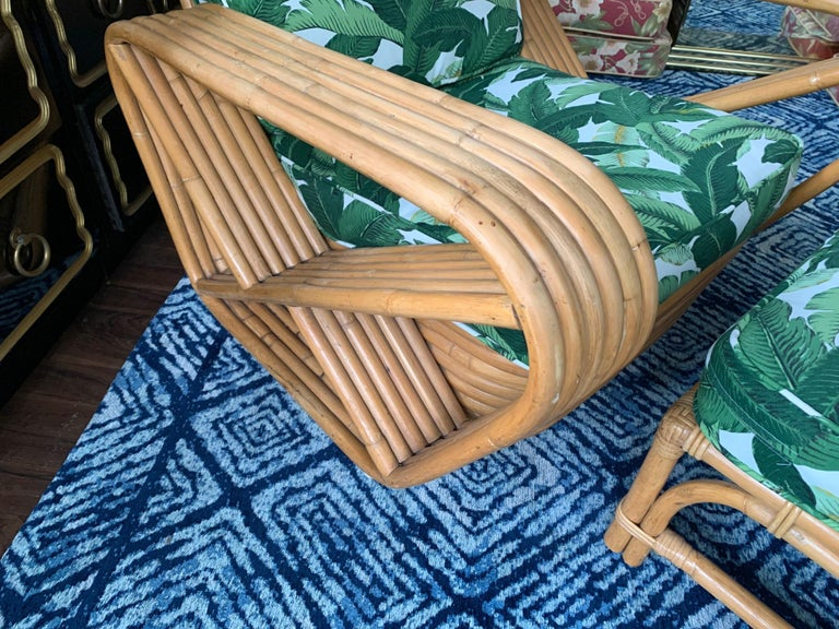 Mid-20th Century Paul Frankl Style Six Strand Lounge Chair and Ottoman For Sale