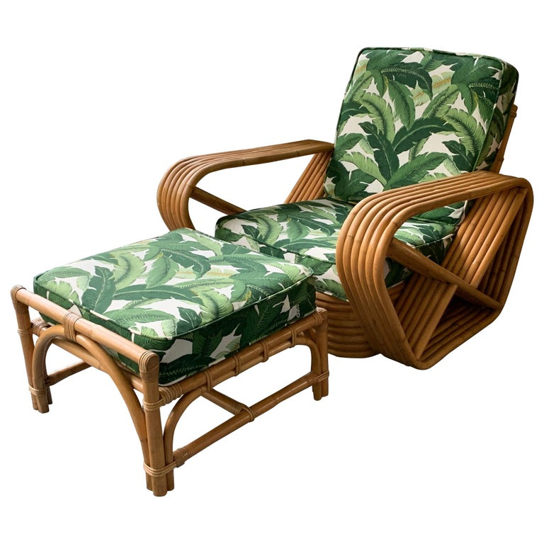 Paul Frankl Style Six Strand Lounge Chair and Ottoman For Sale