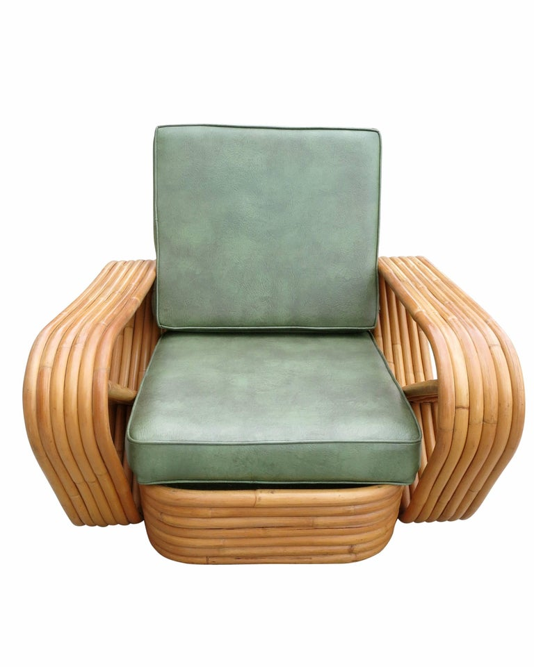 Art Deco Paul Frankl Style Six-Strand Square Pretzel Rattan Lounge w/ Ottoman Unrestored For Sale