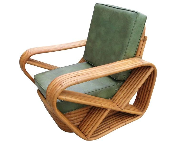 American Paul Frankl Style Six-Strand Square Pretzel Rattan Lounge w/ Ottoman Unrestored For Sale