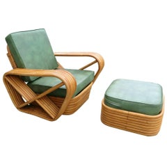 Paul Frankl Style Six-Strand Square Pretzel Rattan Lounge w/ Ottoman Unrestored