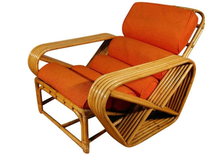 Mid-Century Modern Paul Frankl Style Square Pretzel Rattan Lounge with Ottoman For Sale
