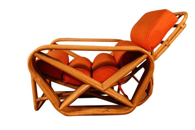 Paul Frankl Style Square Pretzel Rattan Lounge With