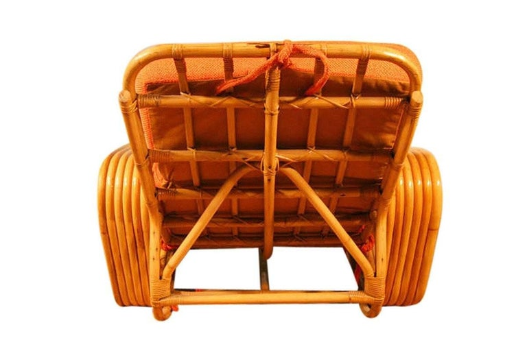Mid-20th Century Paul Frankl Style Square Pretzel Rattan Lounge with Ottoman For Sale