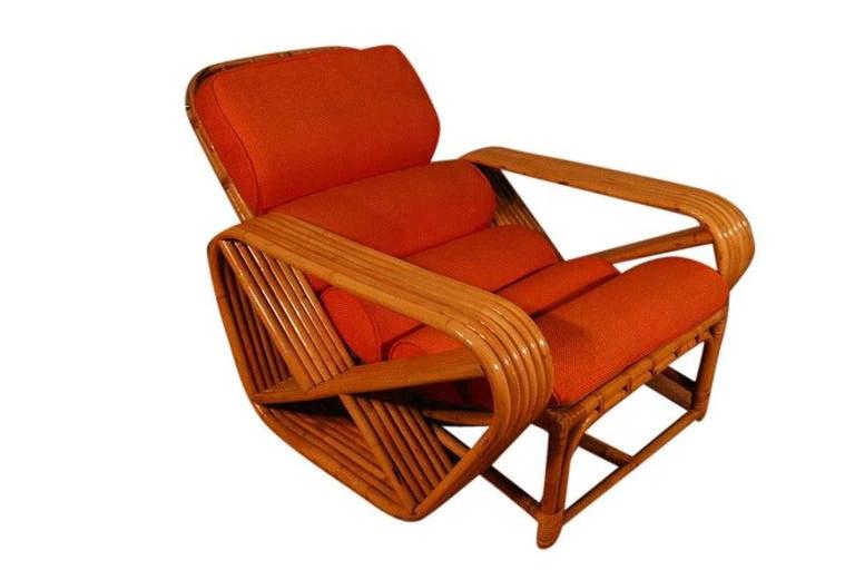 Paul Frankl Style Square Pretzel Rattan Lounge with Ottoman For Sale 1