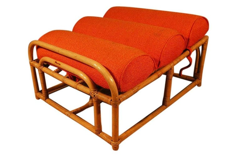 Paul Frankl Style Square Pretzel Rattan Lounge with Ottoman For Sale 2