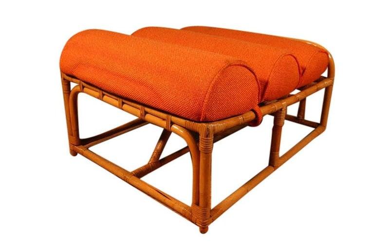 Paul Frankl Style Square Pretzel Rattan Lounge with Ottoman For Sale 3