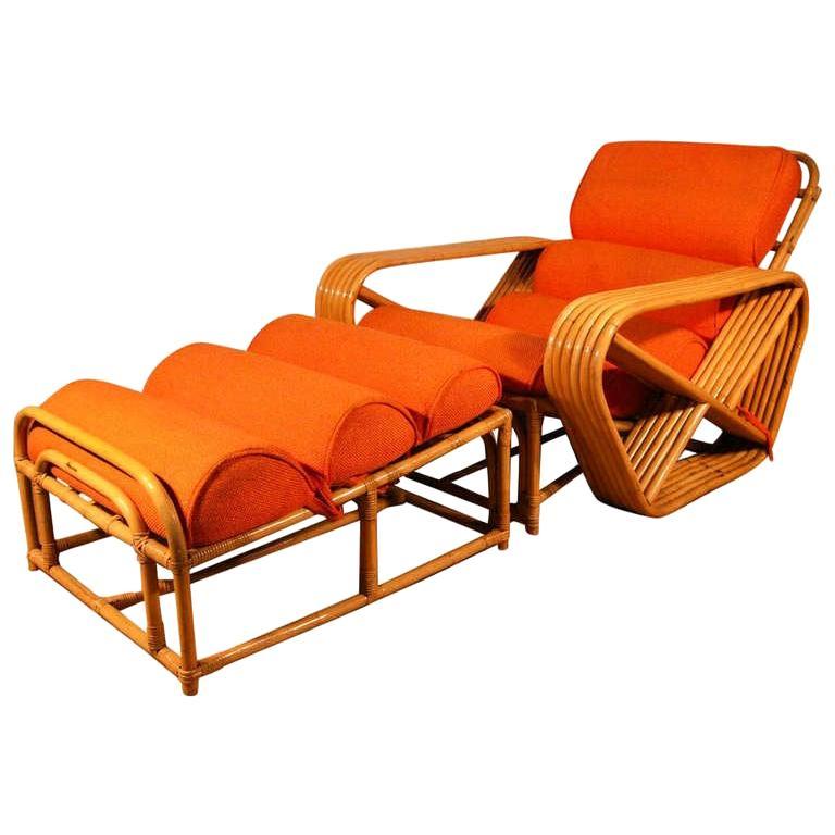 Paul Frankl Style Square Pretzel Rattan Lounge with Ottoman For Sale
