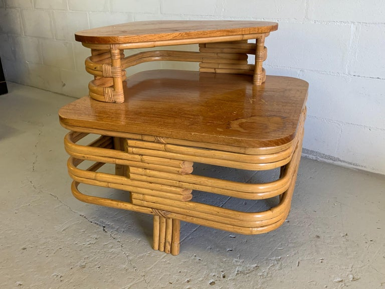 Hollywood Regency Paul Frankl Style Stacked Rattan Corner Table For Sale