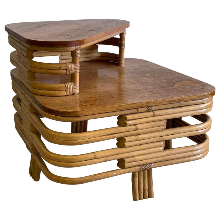 Paul Frankl Style Stacked Rattan Corner Table For Sale