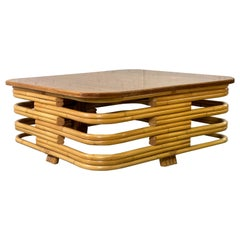 Paul Frankl Style Stacked Rattan Mahogany Top Coffee Table