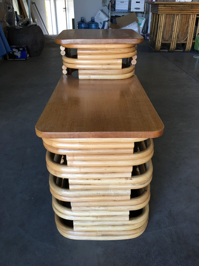 Mid-Century Modern Paul Frankl-Style Stacked Rattan Side Table with Mahogany Tops, circa 1930 For Sale