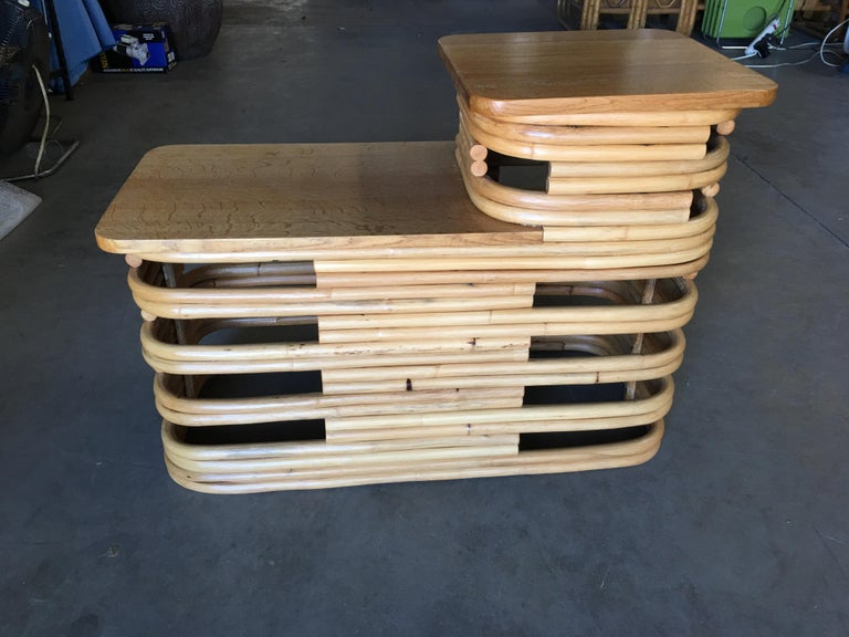 Paul Frankl-Style Stacked Rattan Side Table with Mahogany Tops, circa 1930 In Excellent Condition For Sale In Van Nuys, CA